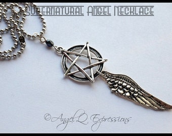 The Ultimate Supernatural Angel Necklace Winchester Style with Pentagram, Angel Wing, and Faceted Bead