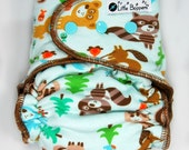 Cloth Diaper AI2 Medium Long Wind Pro - Forest Friends - Windpro All-in-2 Nappy Aqua Blue All in Two Diaper with Animals Trees