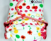 AI2 Cloth Diaper Made to Order - Pink Dotty Floral - You Pick Size and Style - AI2 Nappy - Waterproof Reusable Diaper - Spring Colors Girly