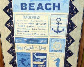 Beach Rules Quilt Blanket