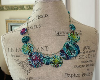 Unique Single Strand Fabric Umbrellas Necklace Eco Chic Statement Piece Jewel Tones