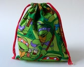 Teenage Mutant Ninja Turtles Drawstring fabric bag, TNT party favors bag, Donatello, Leonardo, Raphael, Michelangelo