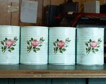 4 pastel mint green shabby chic tin cans wedding centerpiece vase pink roses upcycled recycled repurposed salvaged cottage table home decor