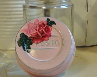 antique vintage specimen jar with presto lid shabby chic cottage soft creamy pastel pink rose distressed mason cap old glass doctor vessel