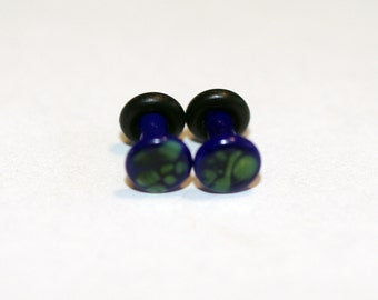 10g Blue and Green Pattern Glass Plugs Body Jewelry 10 Gauge 2.5mm Piercing