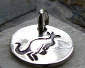 ON SALE Silver Kangaroo Charm, PMC Fine Silver, Animal Jewelry, Australia