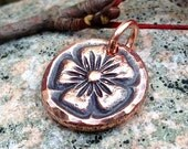 Copper Flower Pendant, Copper Flower Charm, Rustic Copper Jewelry, Small Copper Pendant, Gift for Her