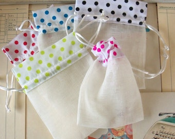 "Five / Polka Dot Fabric Drawstring Bags / Gift Bags / Party Favors / 4"" x 5"""