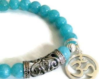 Blue Aquamarine beads Ohm charm bracelet