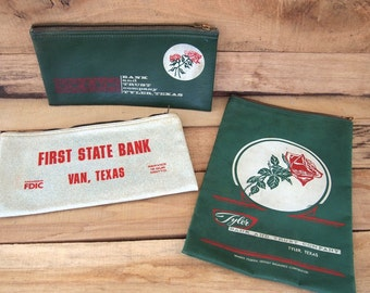 Free Shipping Vintage canvas and zipper bank bags Lot of 3  Money Bags  First State