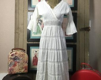 1970s maxi dress mexican wedding dress 70s pin tucked dress size small Vintage dress bohemian dress