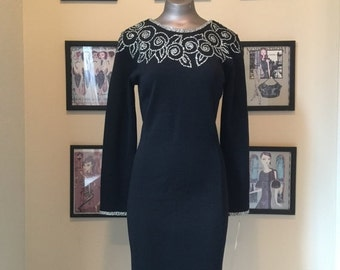 Fall sale black dress cocktail dress Vintage dress wiggle dress size medium beaded dress hourglass dress
