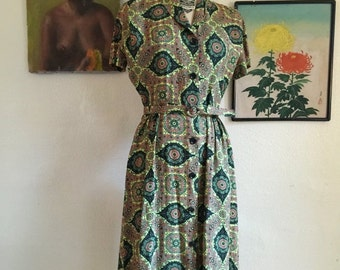 Fall sale 1940s dress mode o day dress size medium wwii era dress rayon dress vintage dress