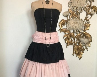 Fall sale 1980s dress prom dress 80s does the 50s pink and black party dress 50s style dress strapless dress x small