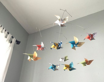Whimsical Nursery Decor / Baby Crib Mobile / Boy or Girl Nursery / Custom Mobile / Playroom Pinwheels : Playtime