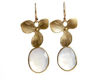 Blue Chalcedony and Flower Earrings/14K Gold Fill Ear Wires/Handmade Jewelry/Gift Ideas