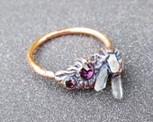 Fantasy Crystal Cluster Ring No.5 ~  Purple Crystal Chaton and Triple Quartz Points Copper-plated Ring Electroforming SIZE 8