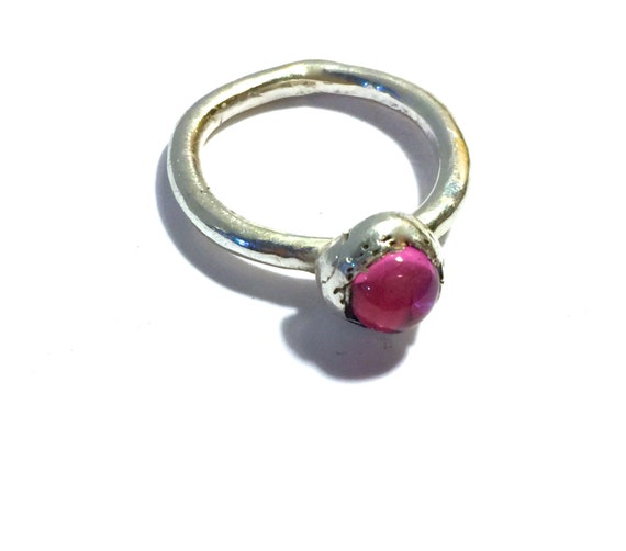 Metal Clay Pink Sapphire Ring-Lab Grown Stone-Conflict Free Stone-PMC-Vegan Ring-Vegan Jewelry-Eco Friendly-Recycled Metals-Vegan Gift