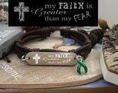 DG-1 Organ Donor Jewelry Leather Bracelet For Him For Her Kidney Disease Awareness Faith Greater Than Fear TBI Brain Injury Liver Cancer