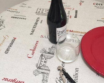 French Tablecloth, Provence Tablecloth, Vineyards and Wines Coated Tablecloth