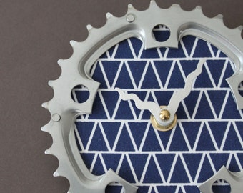 Bicycle Gear Clock - Navy Triangle | Bike Clock | Wall Clock | Recycled Bike Parts Clock