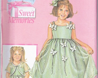 Simplicity 4619 Girls Daisy Kingdom Dress and Short Sleeve Jacket Sewing Pattern Sizes 3-6 Out of Print UNCUT