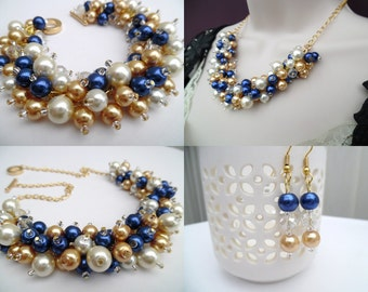 Pearl Beaded Jewelry Set, Royal Blue Ivory and Champagne Gold Necklace Bracelet and Earrings, Cluster Jewelry, Wedding Sets Bridesmaids Gift