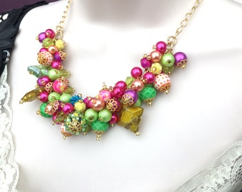 Chunky Beaded Necklace, Cluster Necklace, Bright Coloured Jewelry, One of a Kind Jewelry, Gift For Her, Lime Green Hot Pink, Chunky Beads