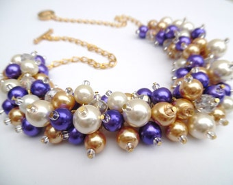 Purple Pearl Necklace, Bridesmaids Gift, Purple Ivory Gold Jewelry, Pearl Wedding Jewelry, Chunky Necklace, Statement Necklace,  Cluster