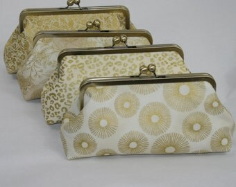 Gold Ivory Bridesmaid Clutch, Bridesmaid Gift, Bridal Accessory Design Your Own Set, Wedding Party Gift Set