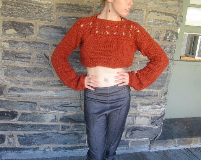 Cropped sweater, cropped sweater with extra long sleeves, Orange/RUST, WOOL/ ALPACA,  shrug, womens sweater, crochet sweater, knit sweater