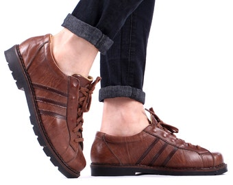 Sneakers Shoes Men's 80s Brown Leather Made in Europe Rustic Trainers Rugged Chunky Sole Retro Lace Up Size Us men 8.5 , Eur 42 , Uk 8