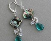 Abalone & Teal Drop, Keshi Cluster Earrings, Resort Wear, Artisan Jewelry