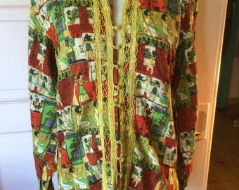 Vintage boho Egyptian print hippie shirt... Size M