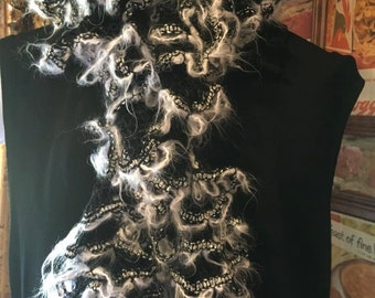 Black and silver handknitted ruffle scarf