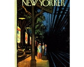 New Yorker Magazine Cover ONLY Vintage Original artist Getz 9-1-1962 waiting for train CONDITION ISSUES