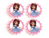 Set of 4 Princess Sofia the First resin hair bow craft center planar resin Cabochons