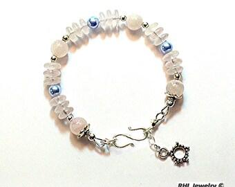 Rose Quartz Bracelet - Pink and Blue Jewelry - Pink Quartz and Blue Pearls - Chakra Bracelet - B2016-04