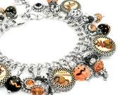 Halloween Jewelry - Silver Charm Bracelet - Halloween Charm Bracelet - Pumpkin Jewelry - Halloween Bracelet - Pumpkin Bracelet