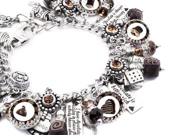 Chocolate Silver Charm Bracelet, Chocolate Jewelry, Truffle Charm Bracelet, Candy Bracelet, Chocolate Bracelet