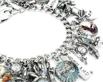 Silver Charm Bracelet - Peter Pan Jewelry - Pixie Bracelet - Neverland - Fairy Bracelet