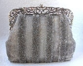 Chic Vintage WALBORG French Glass Bead Purse Hand Beaded France 1940s Grey Silver Stripe Handbag Ornate Openwork Frame Cocktail Evening Bag
