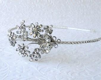 OOAK Jeweled Rhinestone Side Headband Flapper Hairpiece Antique Austrian Crystal Vintage Jewelry Diadem Boho Chic Art Deco Nouveau Bride