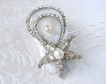 Starfish Bridal Hairpiece Jeweled Rhinestone Hair Comb Vintage Jewelry Mother Of Pearl Headpiece Shell Beach Wedding Bohemian Chic Bride