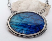 Large Silver Labradorite Necklace, Artisan Jewelry, Blue Fire Stone, Modern Metalwork, Silversmith Jewelry, Gift for Women