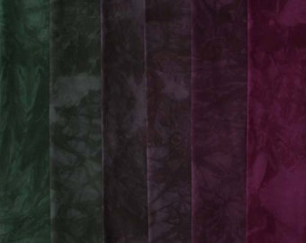 muted GREEN to Red Violet Shades - hand dyed Fabric - 6 pc Fat Quarter Gradation Bundle - Tuscan Rose MGCR851