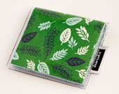 Handmade Vinyl Moo Square Card Holder - Foliage / case, vinyl, snap, wallet, paper, mini card case, moo case, leaves, geese, goose, duck