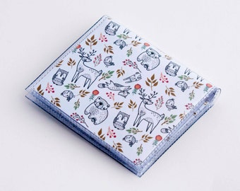 Handmade Vinyl Moo Square Card Holder - In the Woodland / case, vinyl, snap, wallet, mini card case, moo case, square, woodland animals
