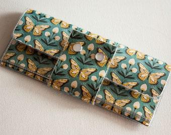 Handmade Vinyl Long Wallet - Wingspan, large wallet, clutch, zipper, card case, vinyl wallet, snap wallet, butterfly wallet, pretty