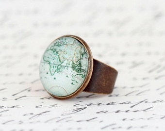 Sale - Gift For Women, World Map Statement Ring, Map Ring, Womens Gift, Gift For Traveler, Map Jewelry, Travels Adventures, Gift For Mom